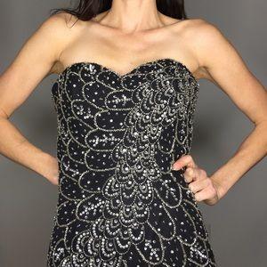 Vintage Strapless Black Silver Beaded Sequin Dress